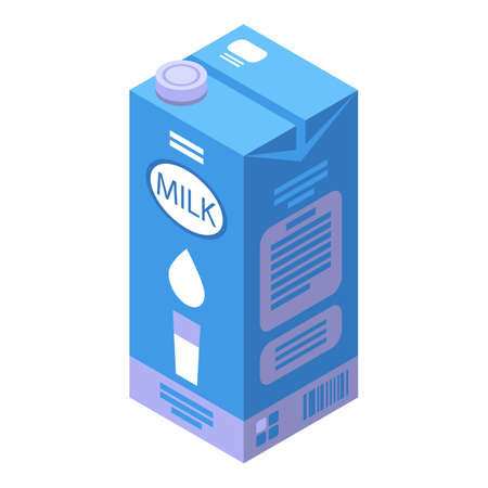 Healthy milk pack food icon, isometric style