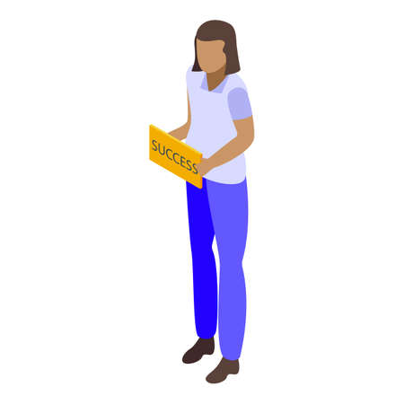 Successful woman icon, isometric style