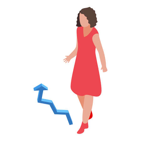 Successful business woman grow up icon, isometric style