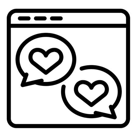 Web love chat icon, outline style