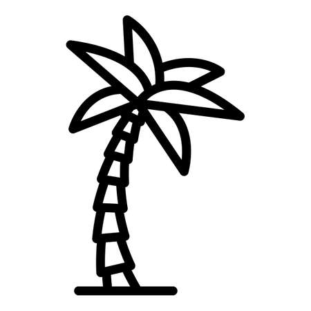 Beach palm tree icon, outline style Çizim
