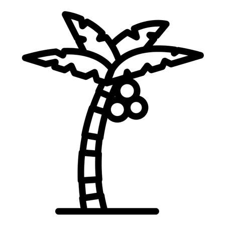 Tropical palm tree icon, outline style