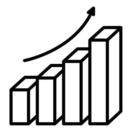 Grow up graph report icon, outline style 向量圖像