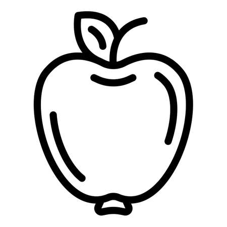 Sport nutrition apple icon, outline style