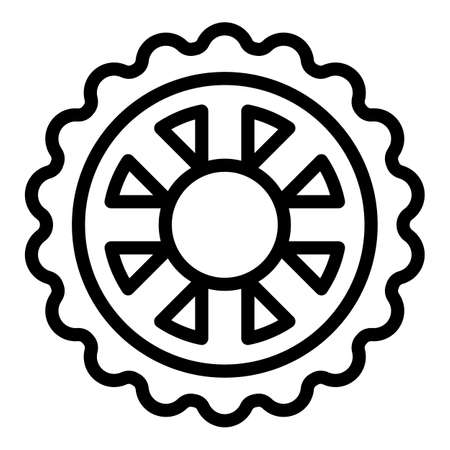 Bicycle repair disk brake icon, outline style