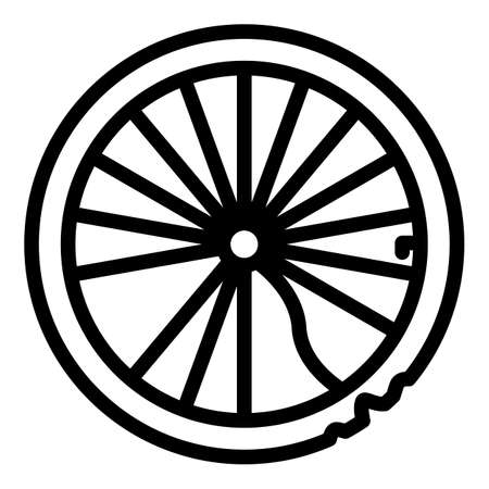 Bicycle repair broken wheel icon, outline style Ilustração