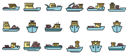 Ferry icons set vector flat