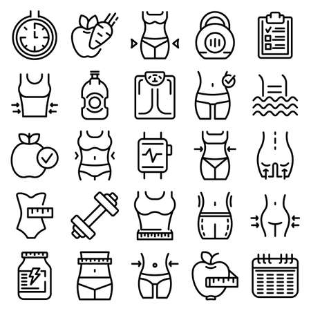 Slimming icons set, outline style
