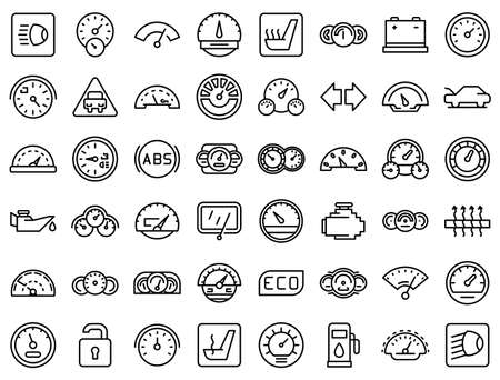 Car dashboard icons set, outline style Vectores