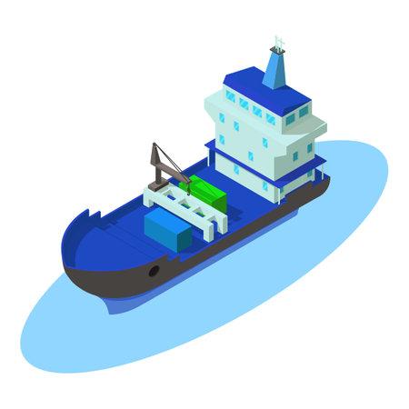 Maritime shipping icon, isometric style