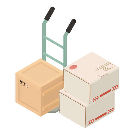 Hand truck icon, isometric style