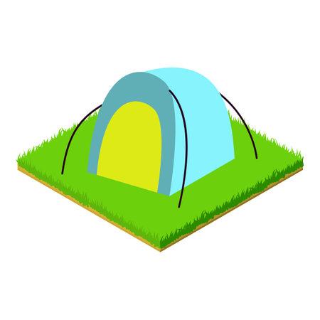 Beach tent icon, isometric style