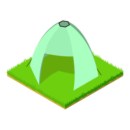 Excursion tent icon, isometric style