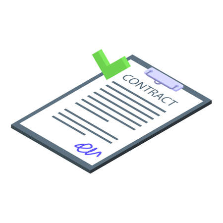 Businessman contract icon, isometric style
