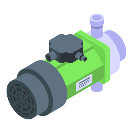 Water pump icon, isometric style