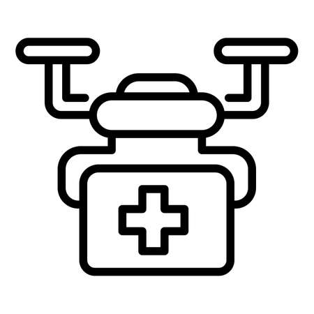 Medical drone icon, outline style