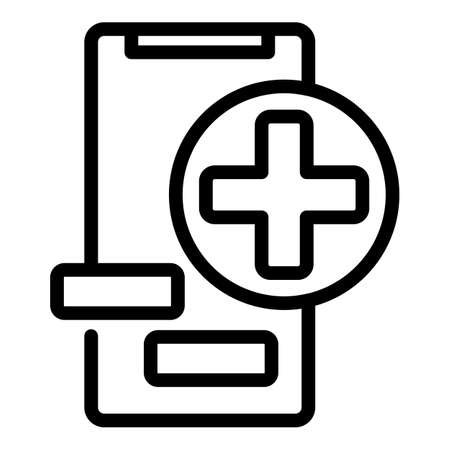 Mobile doctor service icon, outline style
