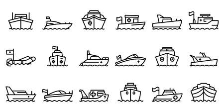 Rescue boat icons set, outline style