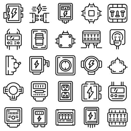 Junction box icons set, outline style