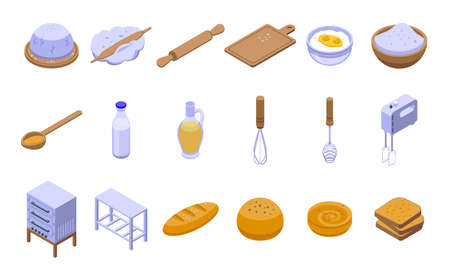 Dough icons set, isometric style
