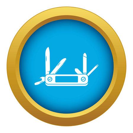 Pocket flashlight icon blue isolated