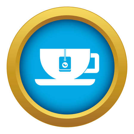 Cup of tea with tea bag icon blue isolated