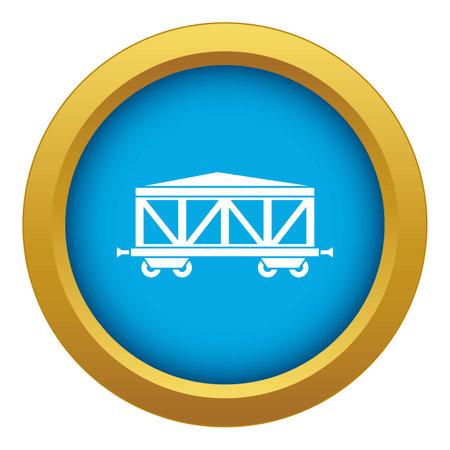 Train cargo wagon icon blue isolated