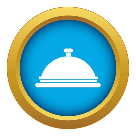 Restaurant cloche icon blue isolated