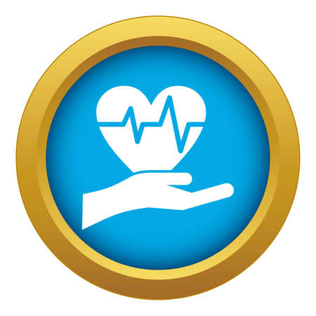 Hand holding heart with ecg line icon blue isolated