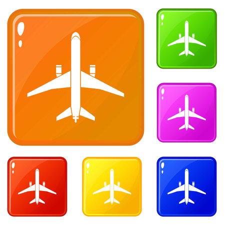Plane icons set color