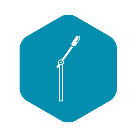 Microphone on stand icon, simple style