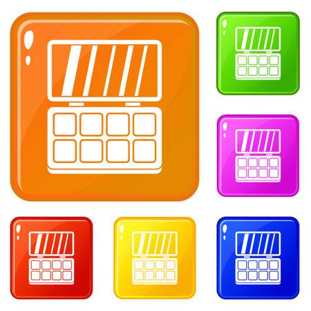 Makeup palette icons set color