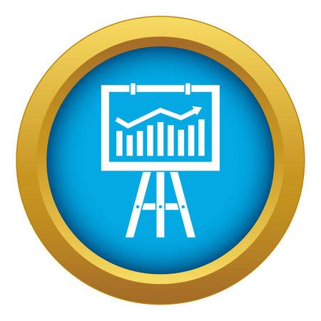 Flipchart with marketing data icon blue isolated