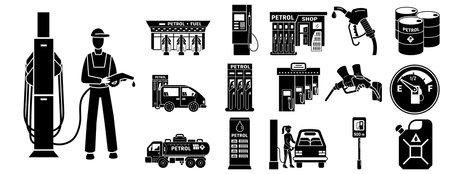Petrol station icons set. Simple set of petrol station icons for web design on white background