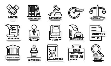 Lawyer icons set. Outline set of lawyer icons for web design isolated on white background