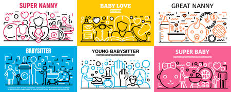 Child babysitter banner set. Outline set of child babysitter banner for web design
