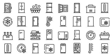 Fridge icons set. Outline set of fridge icons for web design isolated on white background