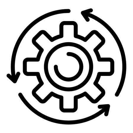 Assembly gear wheel icon. Outline assembly gear wheel icon for web design isolated on white background