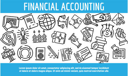 Financial accounting banner. Outline illustration of financial accounting banner for web design
