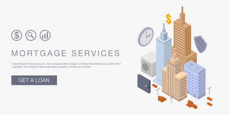 Mortgage services concept banner. Isometric illustration of mortgage services concept banner for web design