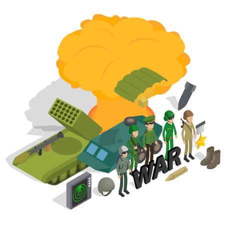 War concept banner. Isometric banner of war concept for web, giftcard and postcard