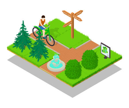 Bicycle path concept banner. Isometric banner of bicycle path concept for web, giftcard and postcard