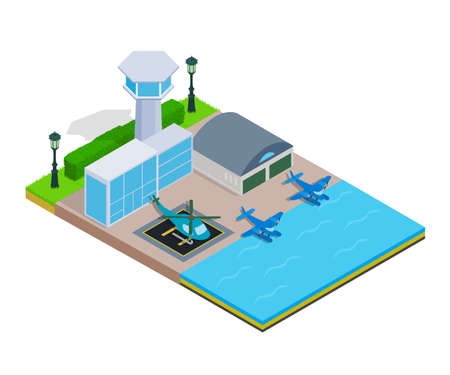 Water airport concept banner. Isometric banner of water airport concept for web, giftcard and postcard