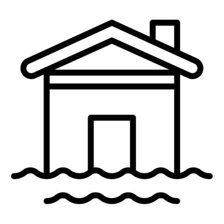 House water flood icon. Outline house water flood icon for web design isolated on white background