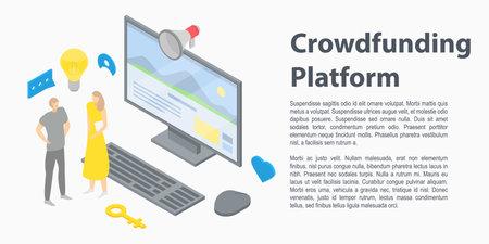 Crowdfunding platform concept banner. Isometric illustration of crowdfunding platform concept banner for web design