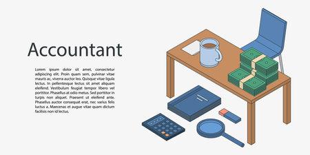 Accountant desktop concept banner. Isometric illustration of accountant desktop concept banner for web design