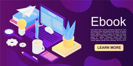 Ebook concept background. Isometric illustration of ebook concept background for web design