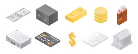 Bank metals icons set. Isometric set of bank metals icons for web design isolated on white background