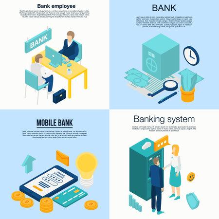 Bank employee banner set. Isometric set of bank employee banner for web design