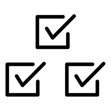 Three checkboxes icon. Outline three checkboxes icon for web design isolated on white background